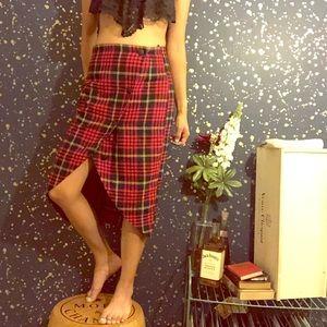 Vintage Asymmetrical Plaid Sexy Skirt 🖤❤️